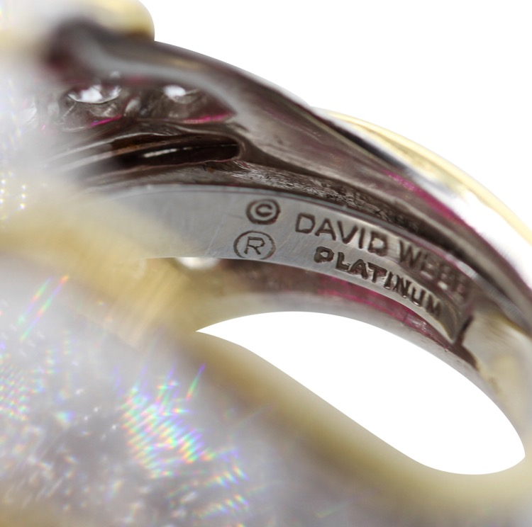 18 Karat Yellow Gold, Platinum, Ruby and Diamond Ring by David Webb - Image #6