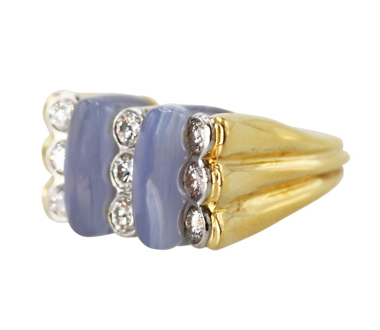 18 Karat Yellow Gold, Blue Agate and Diamond Ring by Carvin French