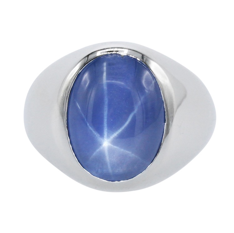 Platinum and Star Sapphire Gents Ring