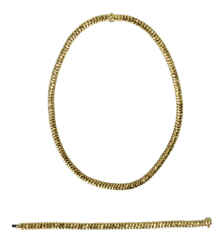18 Karat Yellow Gold Necklace and Bracelet by Henry Dunay
