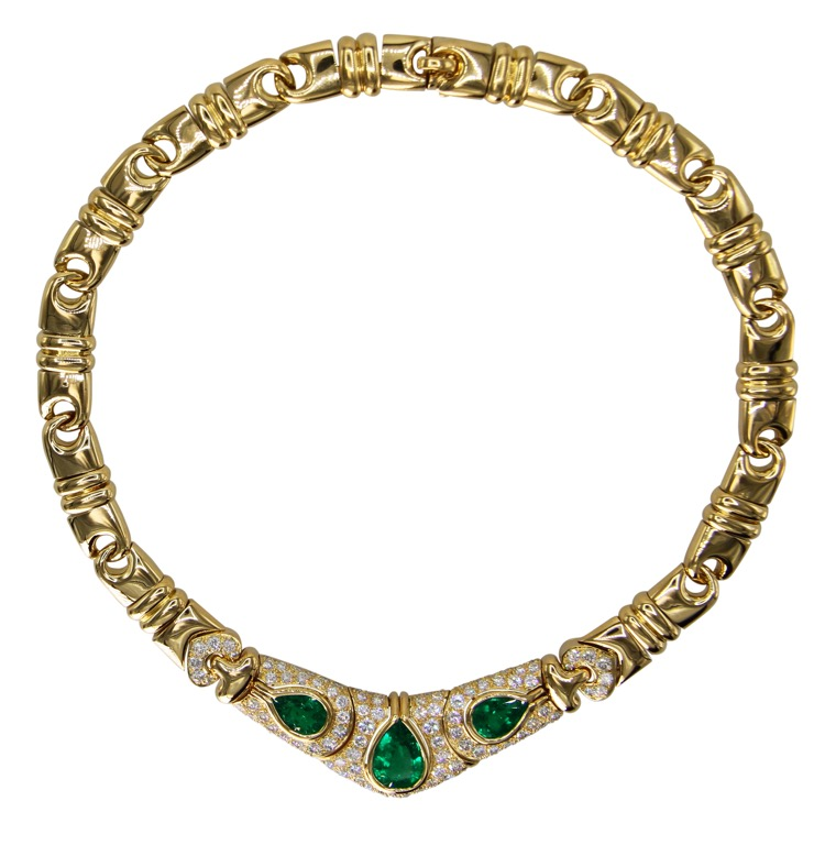 18 Karat Gold, Emerald and Diamond Necklace by Bulgari, Italy