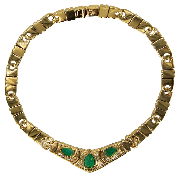 18 Karat Gold, Emerald and Diamond Necklace by Bulgari, Italy - Image #2