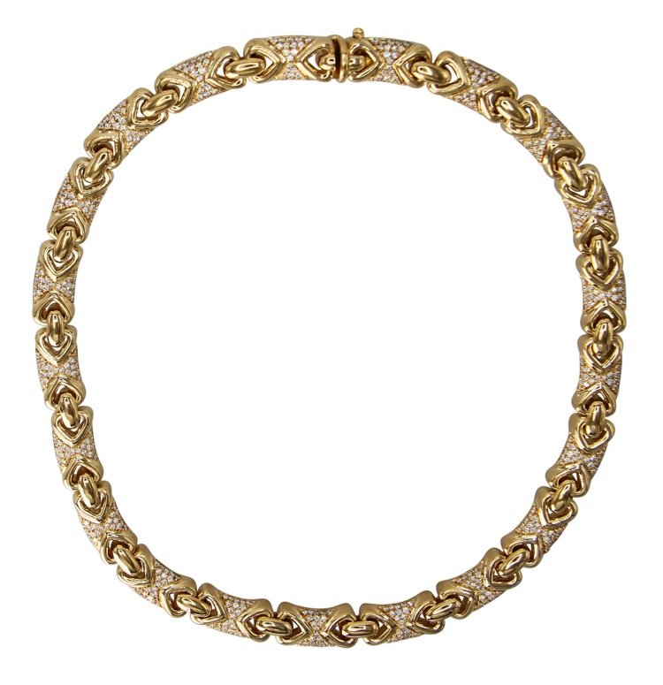 18 Karat Yellow Gold and Diamond Necklace by Bulgari, Italy