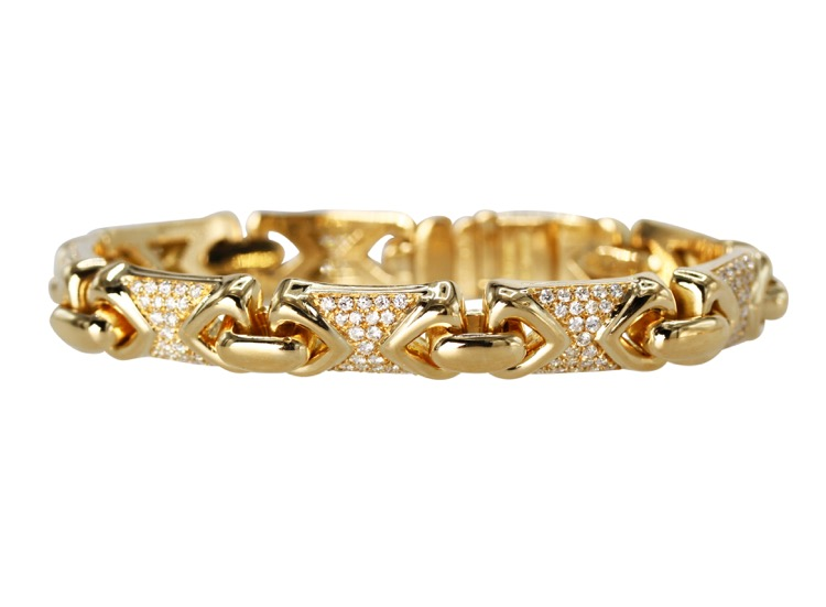 18 Karat Yellow Gold and Diamond Bracelet by Bulgari, Italy