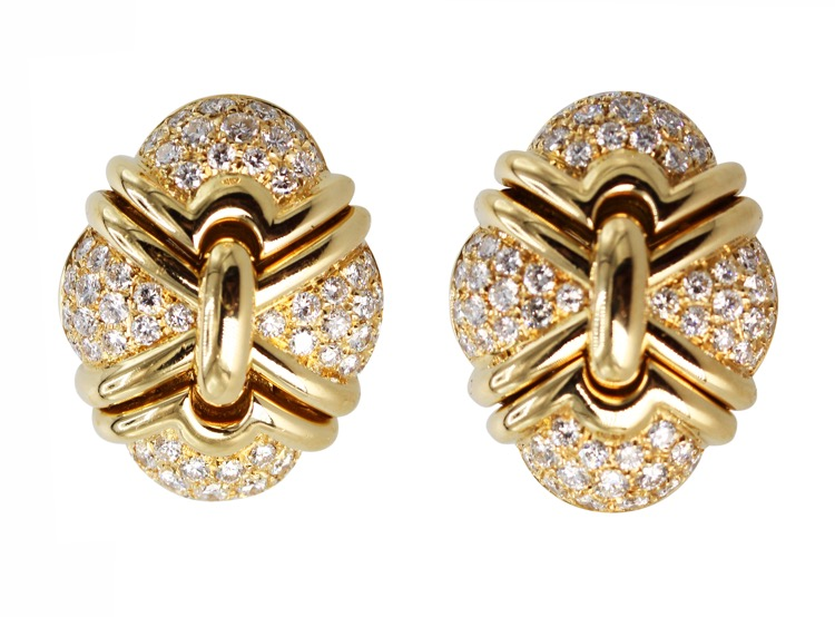 Pair of 18 Karat Yellow Gold and Diamond Earclips by Bulgari, Italy