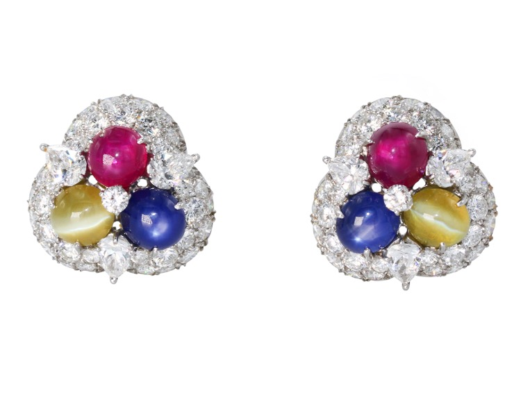 Pair of Platinum Cats-Eye, Ruby, Sapphire and Diamond Earclips