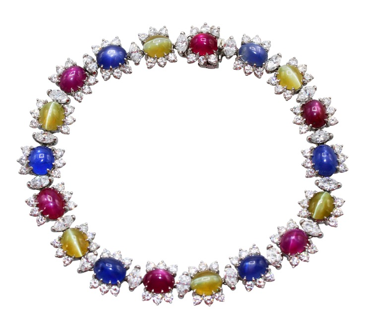 Platinum Cats-Eye, Star Ruby and Sapphire Diamond Bracelet