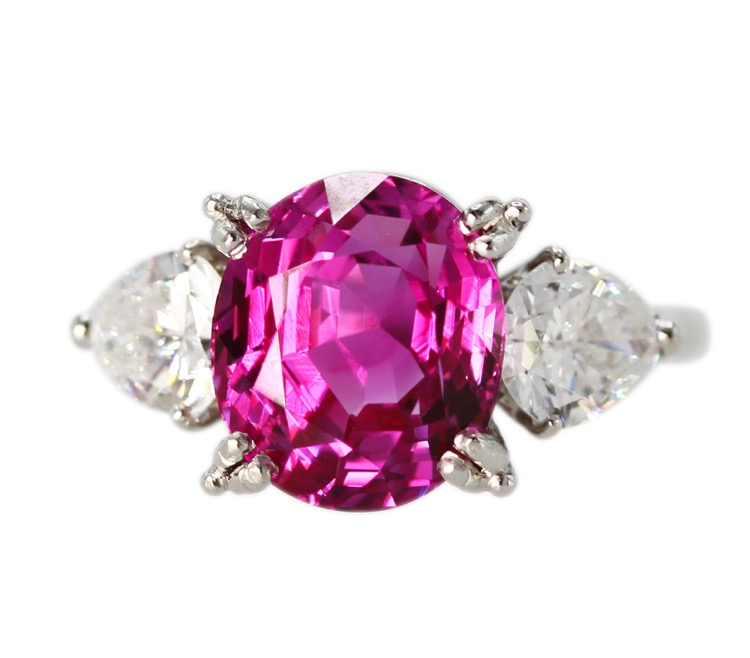 Platinum, Pink Sapphire and Diamond Ring by Cartier