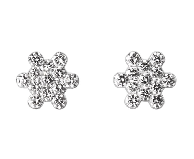 Pair of 18 Karat White Gold and Diamond Earrings