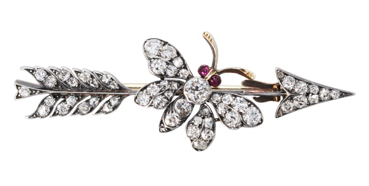 Antique Gold, Silver, Diamond and Ruby Brooch