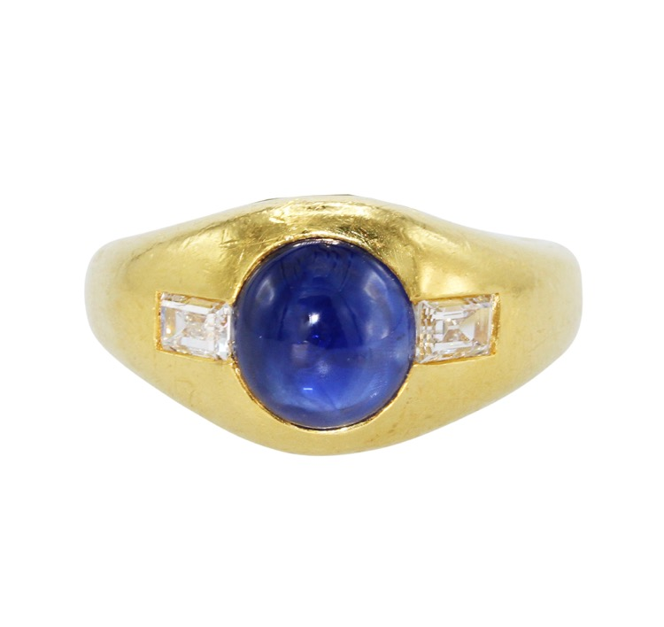 22 Karat Yellow Gold, Sapphire and Diamond Ring