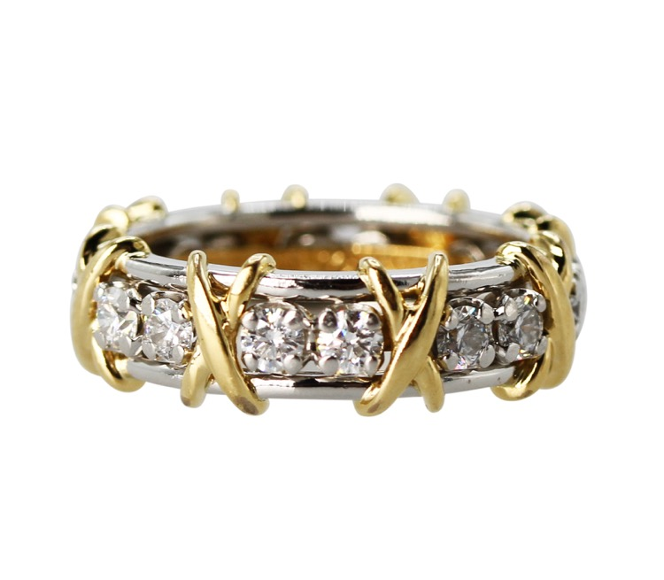 "18 Karat Yellow Gold, Platinum and Diamond ""Sixteen Stone\"" Ring by Schlumberger for Tiffany & Co."