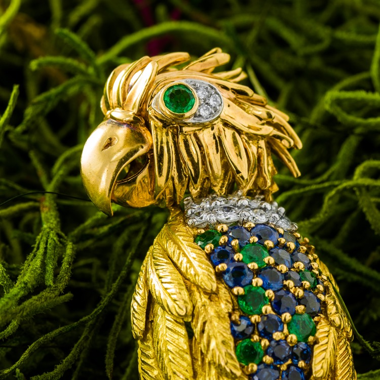 Emerald Ruby Sapphire and Diamond Parrot Brooch, France
