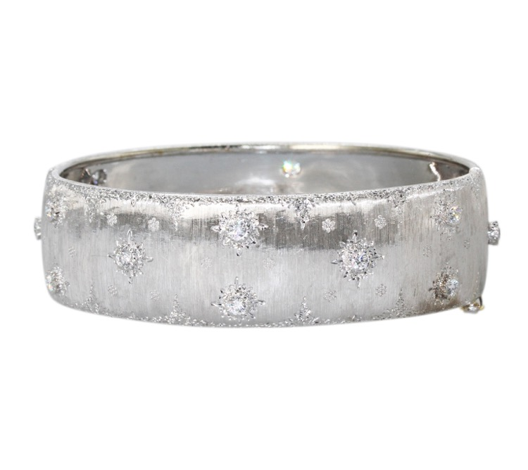 18 Karat White Gold and Diamond Bangle by Frederico Buccellati, Italy
