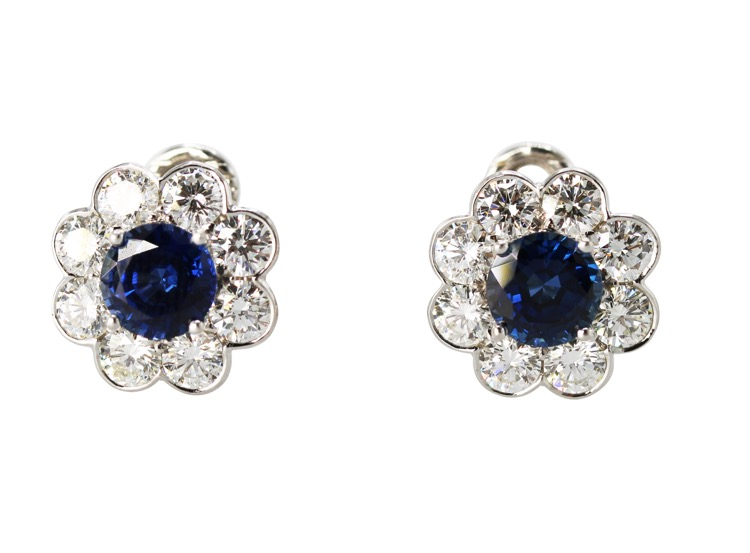 Pair of Platinum and 18 Karat Gold, Sapphire and Diamond Ear Clips