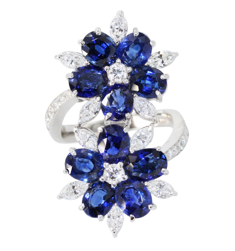 Platinum, Sapphire and Diamond Flower Ring