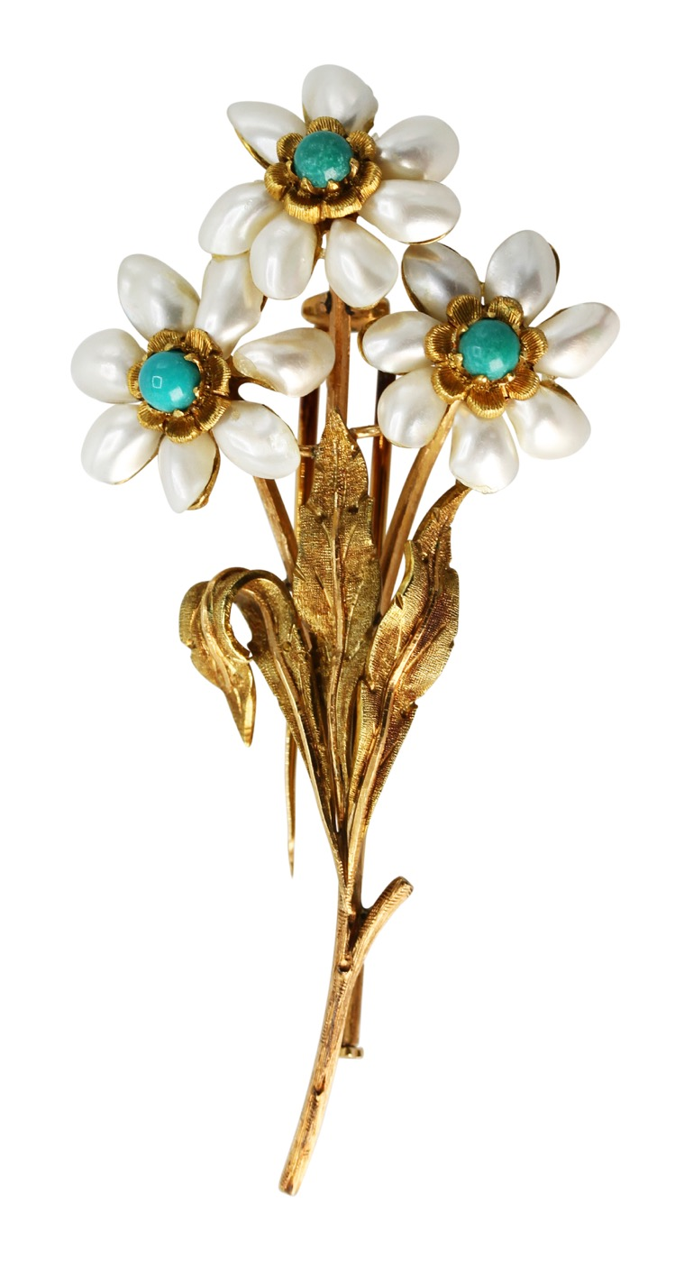 18 Karat Gold, Pearl and Turquoise Flower Brooch by Buccellati, Italy, circa 1950
