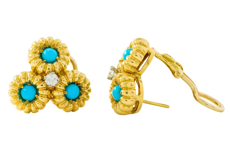 Pair of 18 Karat Yellow Gold, Turquoise and Diamond Earclips - Image #2