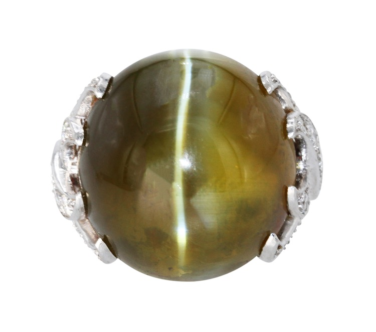 Platinum, Chrysoberyl Cats-Eye and Diamond Ring by Verdura, circa 1965