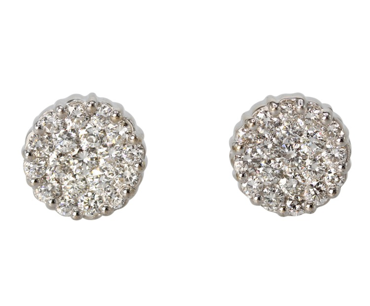 Pair of 18 Karat White Gold and Diamond Earrings - Image #1