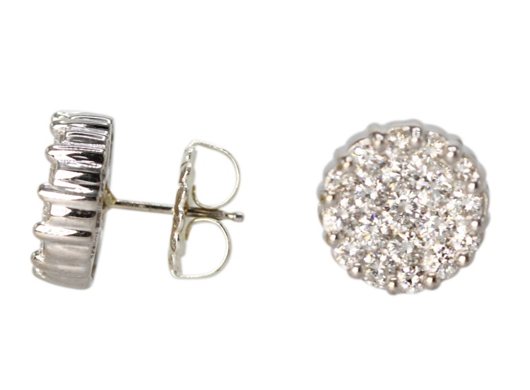 Pair of 18 Karat White Gold and Diamond Earrings - Image #2