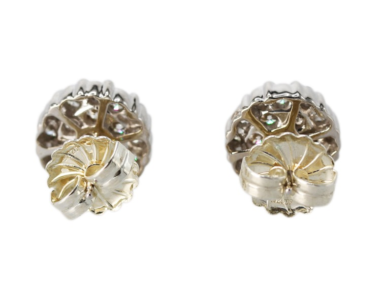Pair of 18 Karat White Gold and Diamond Earrings - Image #3