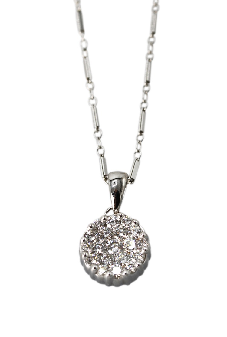18 Karat White Gold and Diamond Pendant Necklace