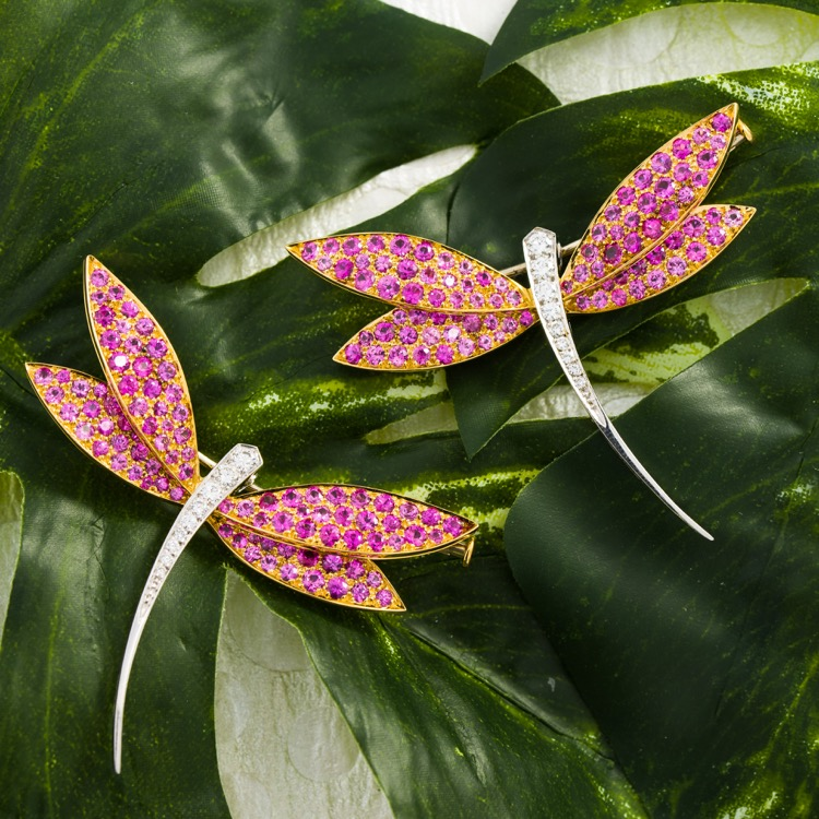 Pair of 18 karat two-toned gold, diamond and pink sapphire dragonfly brooches by Van Cleef & Arpels