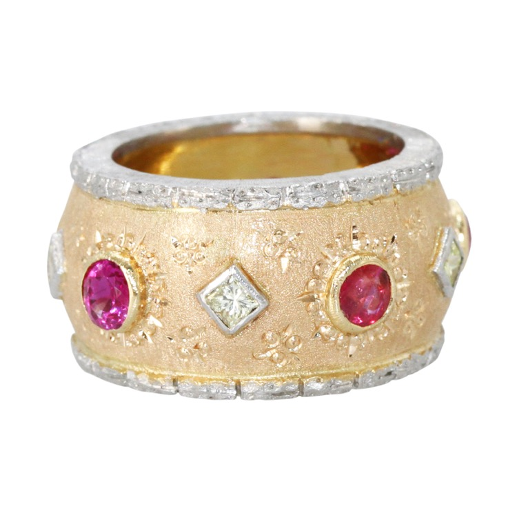18 Karat Pink Gold, Platinum, Ruby and Diamond Ring
