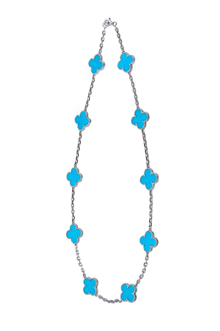 18 Karat White Gold Turquoise Alhambra Necklace