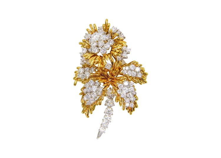 18 Karat Yellow and White Gold Diamond Brooch by Kurt Wayne