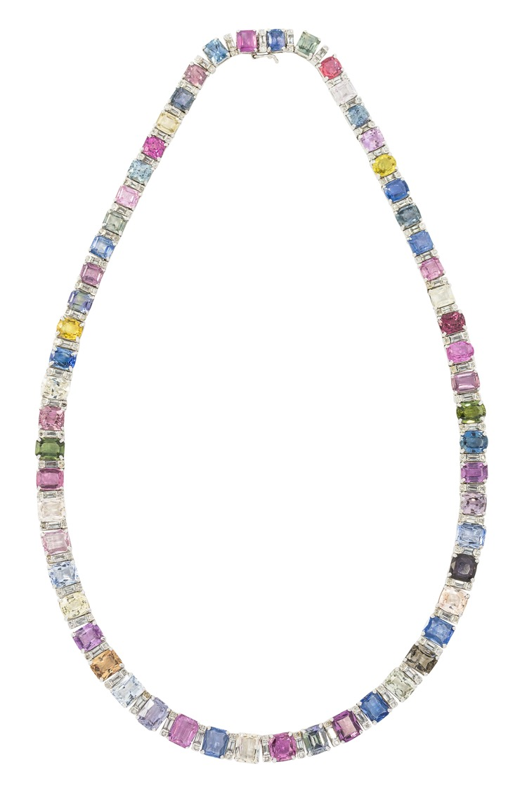 18 Karat White Gold, Multi-Colored Sapphire Necklace