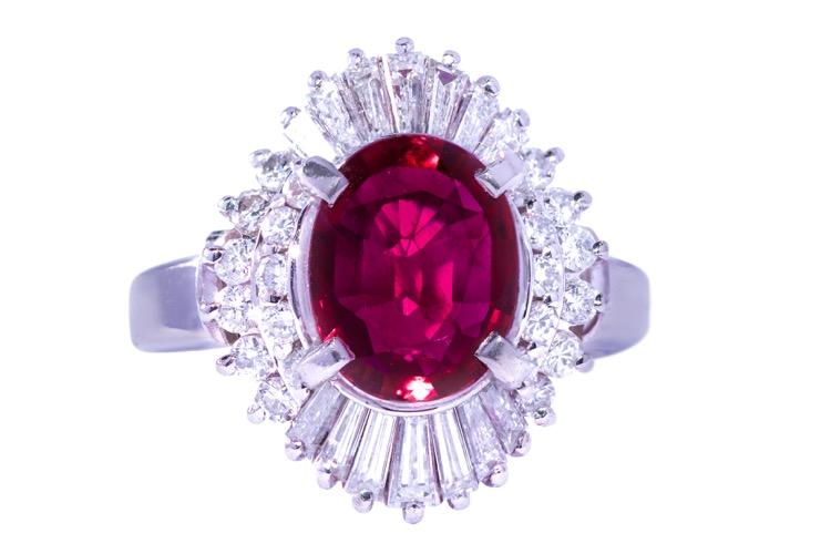 Platinum, Oval Ruby and Diamond Ring