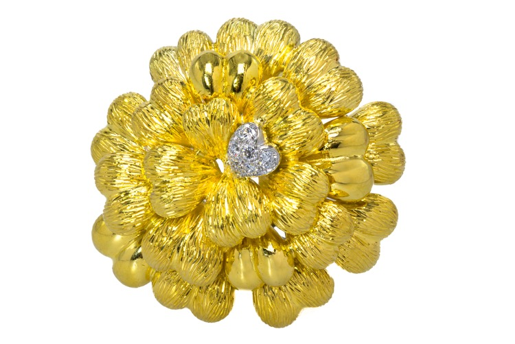 18 Karat Yellow Gold Diamond Brooch by Tiffany & Co., Italy