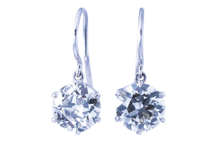 Pair of Platinum and Diamond Pendant Earrings