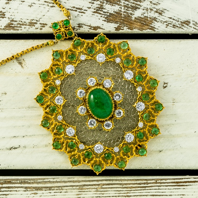 "18 Karat Yellow Gold, Emerald and Diamond Convertible ""Tulle"" Pendant Necklace by Mario Buccellati"