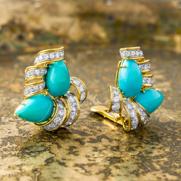 Pair of Platinum and 18 Karat Yellow Gold Turquoise and Diamond, Earrings by David Webb