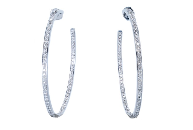 18 Karat White Gold Diamond Hoop Earrings by Cartier
