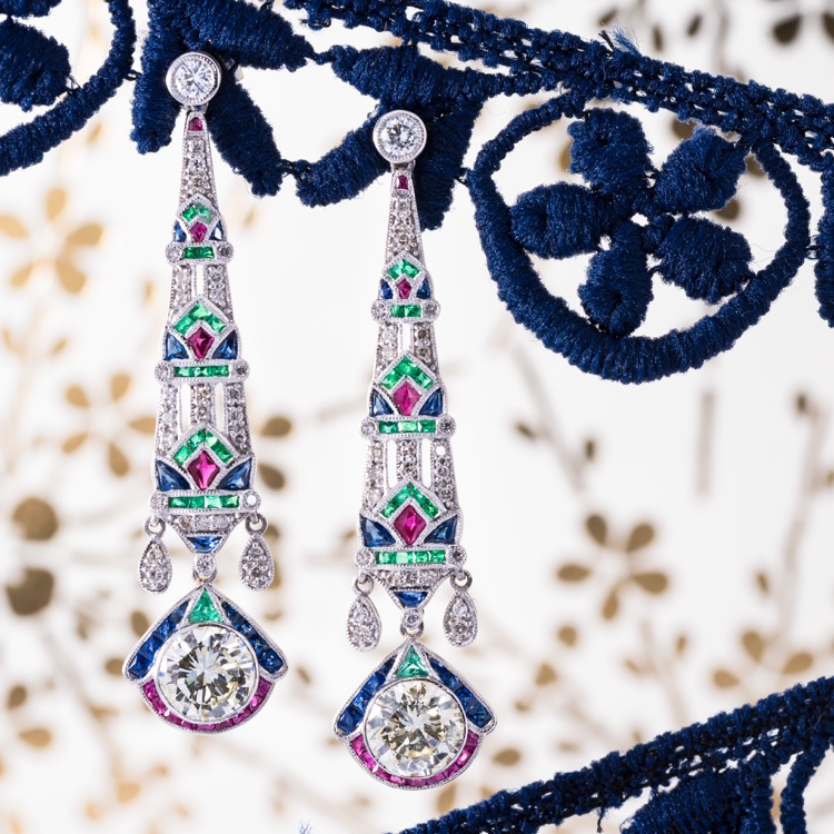 Pair of Platinum, Diamond, Emerald, Ruby and Sapphire Earrings