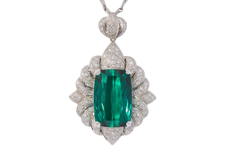 Platinum Green Tourmaline Diamond Necklace