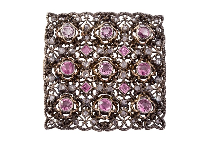 18 Karat Yellow Gold and Silver Pink Sapphire Diamond Brooch by Buccellati, Circa 1920