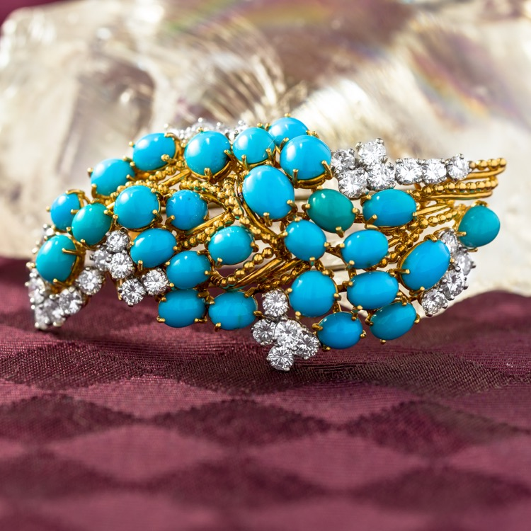 18 Karat Yellow Gold, Platinum, Turquoise and Diamond Brooch by Cartier, French