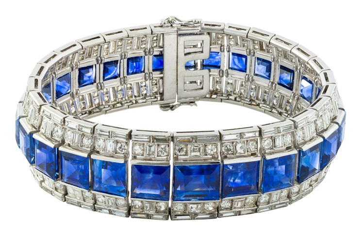 Art Deco Platinum Sapphire and Diamond Bracelet