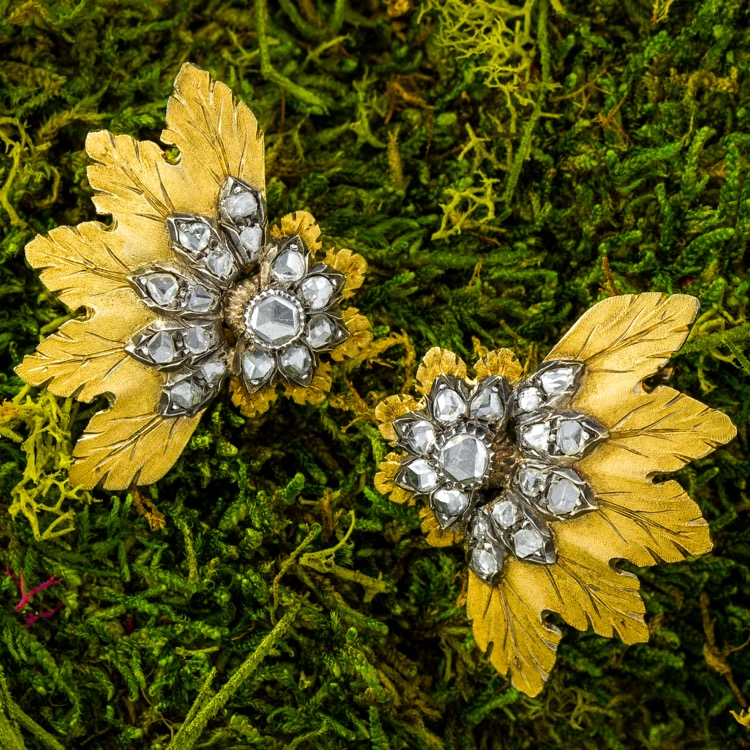 18 Karat Yellow Gold, Silver and Diamond Earrings by Buccellati