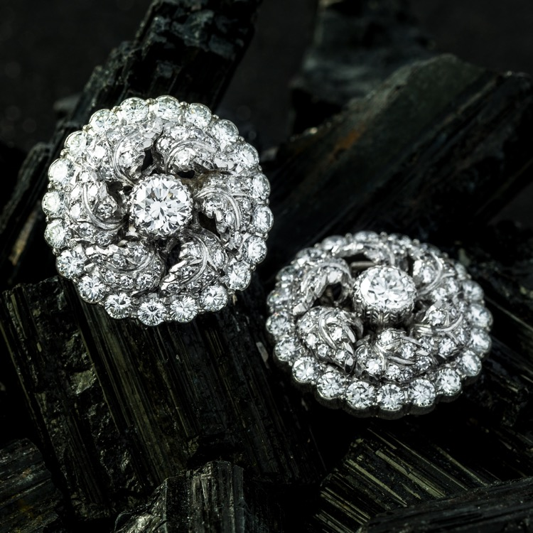 Platinum & 18K White Gold Diamond Earrings
