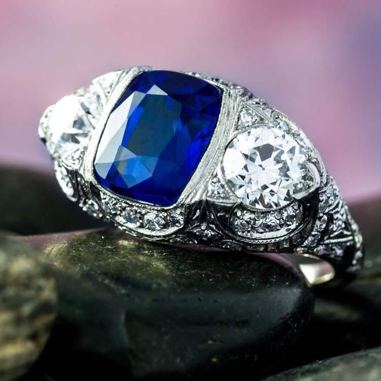 Art Deco No Heat Kashmir Sapphire and Diamond Platinum Ring