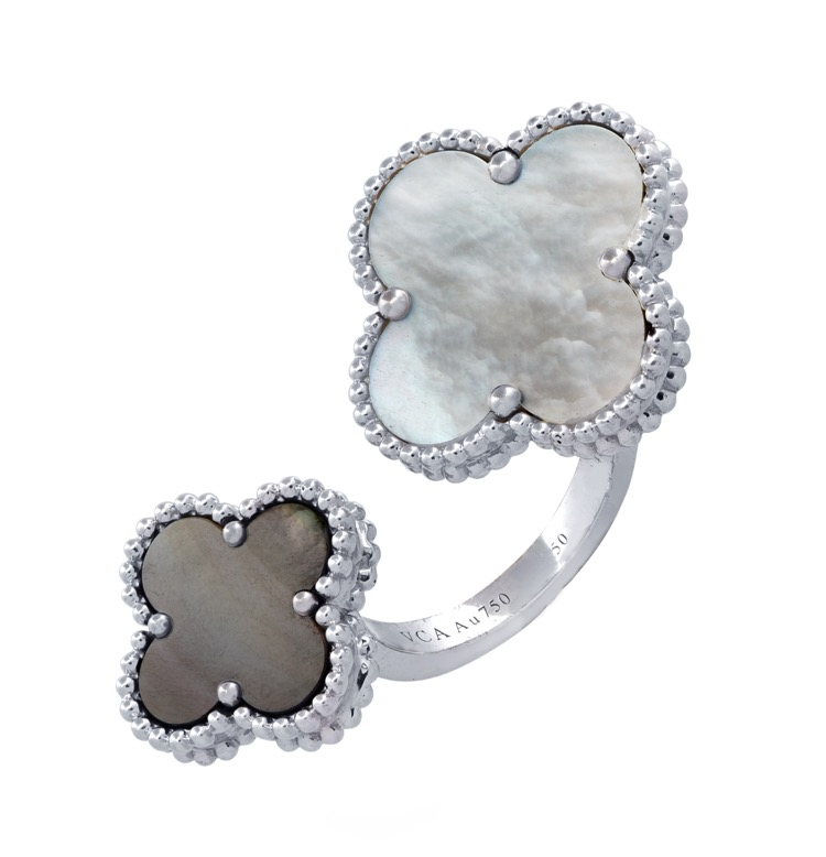 18 Karat White Gold Mother-of-Pearl Ring by Van Cleef & Arpels