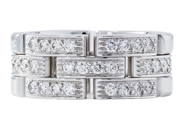 18 Karat White Gold Diamond Maillon Panthère Ring by Cartier