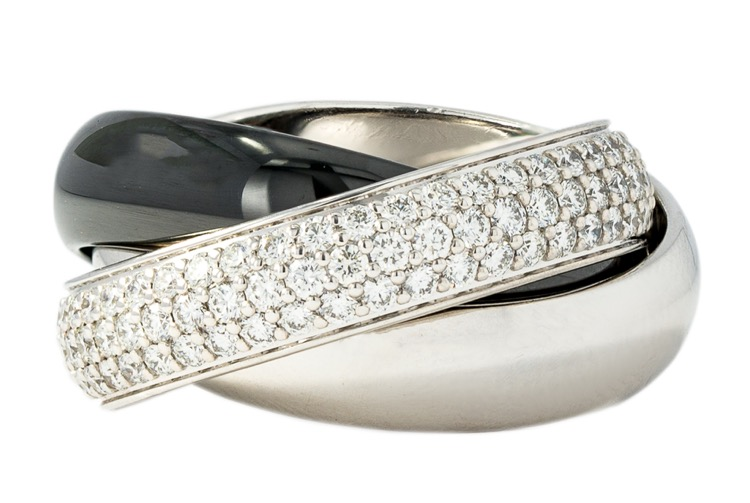 18 Karat White Gold, Platinum and Ceramic Diamond Trinity Ring by Cartier