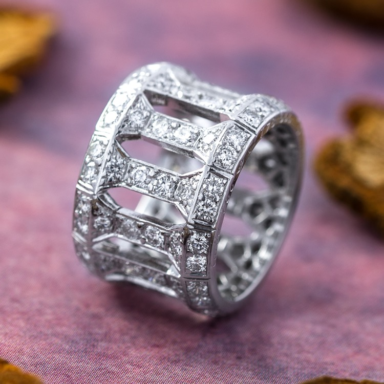 18 Karat White Gold Diamond Anthalia Ring by Cartier